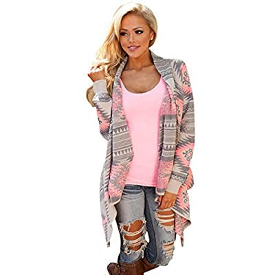 Sun Lorence Women Fashion Long Sleeve Pattern Printed Knit Cardigans Sweaters