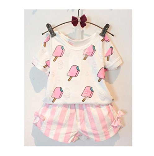 1Set Baby Girls Clothes Ice Pop Short Sleeve T-shirt + Short Pants Outfits (Age:2-3Y)
