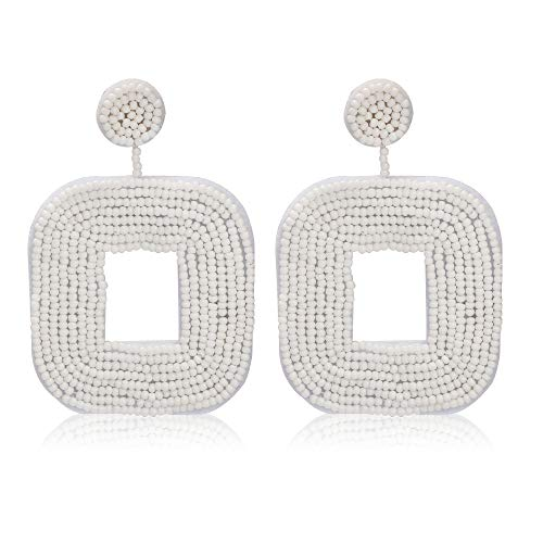Women's Beaded Tassel Earrings Long Fringe Drop Bohemian Earings Dangle 7 Colors (Square-White)