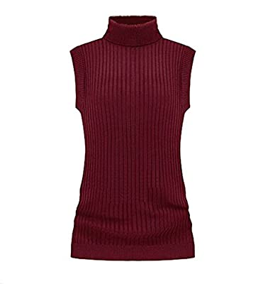 V28 Women's Ladies Juniors Sleeveless Mock Neck Turtleneck Tops Jumper Sweater