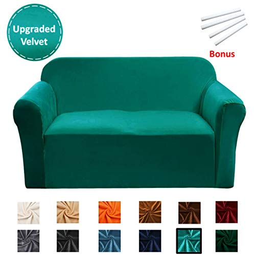 Argstar Velvet Love Seat Couch Covers, Cover for Sofa and Loveseat, Slipcovers for Furniture, Teal