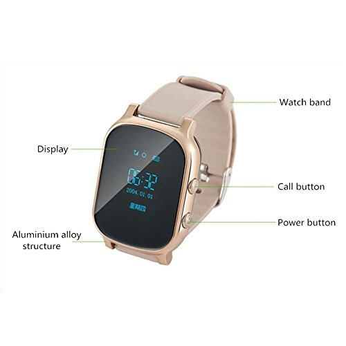 Hangang GPS Tracker For Kids Children Smart Watch Kids Wrist Watch T58 Anti-lost SOS Call Location Finder Remote Monitor Pedometer Functions Parent Control iPhone Android Smartphones APP (gold)(T58G) by Hangang (Image #8)