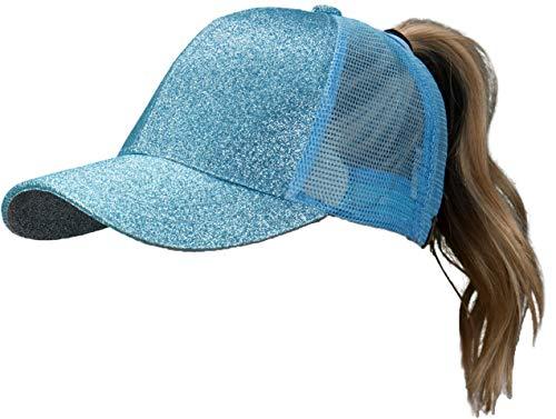 - H-209-28 Messy Bun Ponytail Trucker Hat Mesh Baseball Cap - Sky Blue Glitter