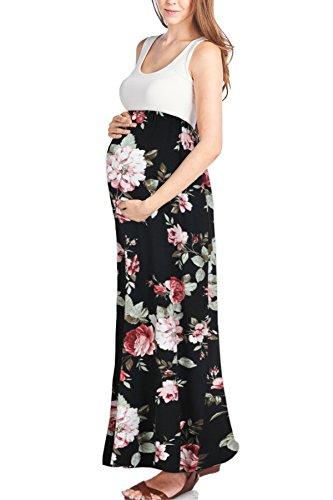 Beachcoco Women's Maternity Sleeveless Maxi Empire Waist Flower Printed Tank Dress (S, Black (Mixed Print Maxi Dress)