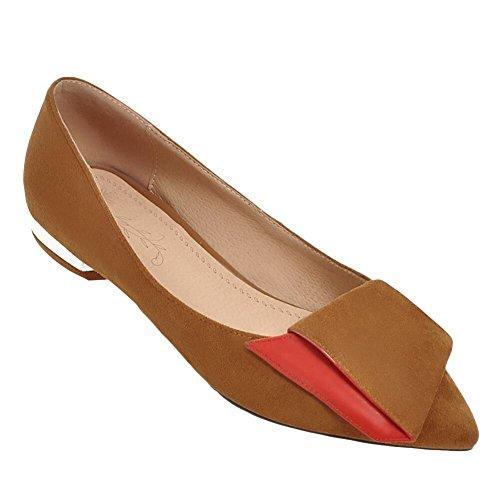 Mee Shoes Damen Niedrig Zweifarbig Spitz Pumps Camel