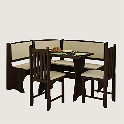 Cushion Set Nook Kitchen - Furniture.Agency Breakfast Nook 4-Piece Set Multiple Finishes Corner Bench, Dining Table and 2 Side Chairs Wenge/Eco bez