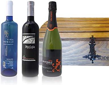 Viña Romale - Pack Vino y Cava 3 botellas - Vino Tinto Crianza + Vino Blanco Verdejo Semidulce + Cava Brut Nature - Cofre Pack Regalo: Amazon.es: Salud y cuidado personal