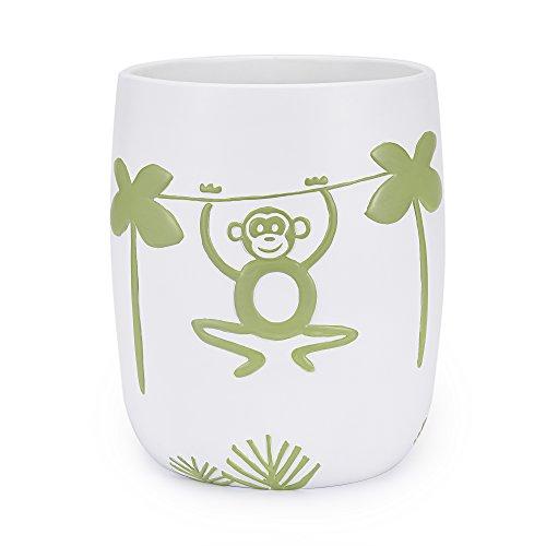 - Kassatex Jungle Bath Accessories Wastebasket, One Size, Green, White, Orange