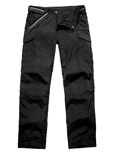 Jessie Kidden Mens Hiking Pants Adventure Quick Dry Lightweight Fishing Travel Mountain Trousers #6046-Black,38