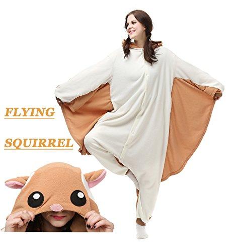 YoCozy Unisex Adult Animal Onesie Flying Squirrel Costume Pajamas Cosplay M/L -