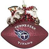Tennessee Titans 5 1/2'' Peggy Abrams Glass Football Ornament