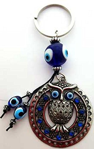 Forest Owl of Protection and Watching Evil Eye Banisher Keychain (Celtic Protection Ring compare prices)