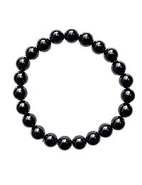 "Zenergy Gems Charged Premium 7"" Black Obsidian Crystal 8mm Bead Bracelet (Protective & GROUNDING) [Reiki]"