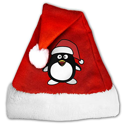 Shadidi Adults Kids Christmas Penguin Costume Christmas Hat Santa Claus Hat with White Brim Perfect for Gift Holiday -