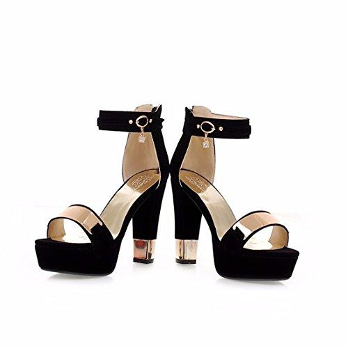 y Hebillas Europeos Rough Sandalias Tacones 's Sandalias Sandals de Women Sandalias Sandalias black Americanos agPEWwx