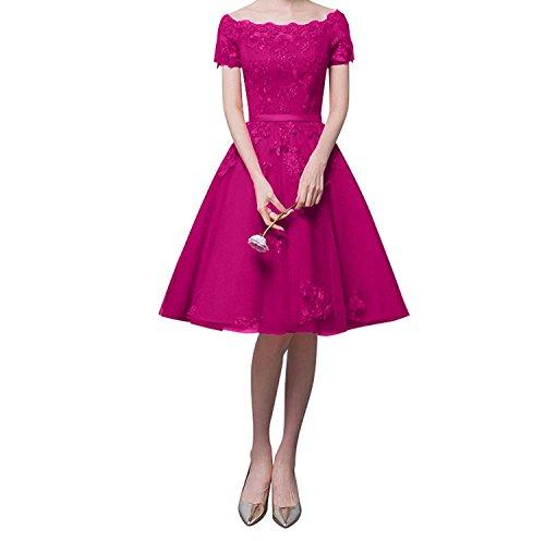 Partykleider Damen Charmant Spitze Pink Weinrot Rock Knielang Brautjungfernkleider Abendkleider Linie Kurzarm A Uqdq4Y