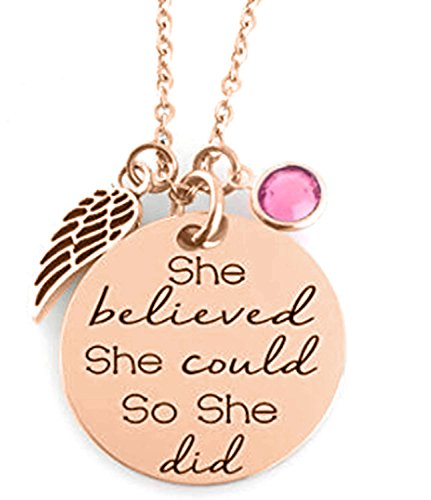 - GLAM - ''SHE BELIEVED SHE COULD SO SHE DID'' Inspirational Positive Message Mantra Pendant Angel Bird Wing Charm Necklace (Rose Gold/Pink)
