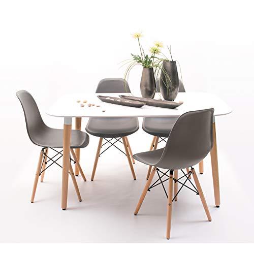 Conjunto de Comedor de diseno nordico NORDIK-MAX con Mesa lacada Blanca de 130x80 cm y 4 sillas (Gris Oscuro)