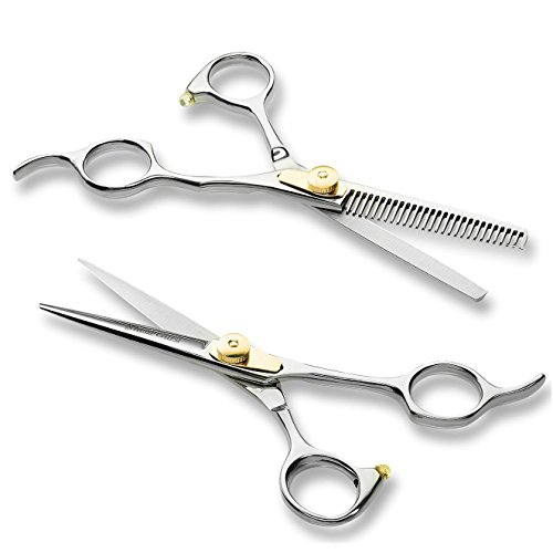 "Professional Barber Scissor Hair Cutting Set - 6.5"" - 1 Straight Edge Hair Scissor, 1 Texturizing Thinning Shears, Plus Bonus Faux Leather Case - By ShearGuru ..."