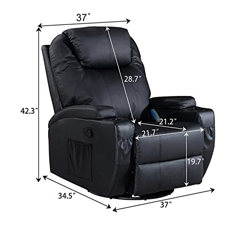 Massage Recliner Chair, 360 Degree Swivel and Heated Recliner Bonded Leather Sofa Chair with 8 Vibration Motors?Black