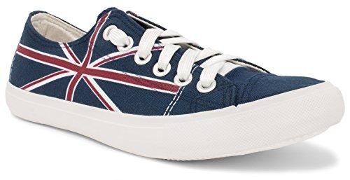 Ann Arbor T-shirt Co. Union Jack | United Kingdom British Flag Gym Fun Tennis Shoe, UK Britain Sneaker - (Lowtop, US Men's 8, US Women's - Cheap Shop Uk