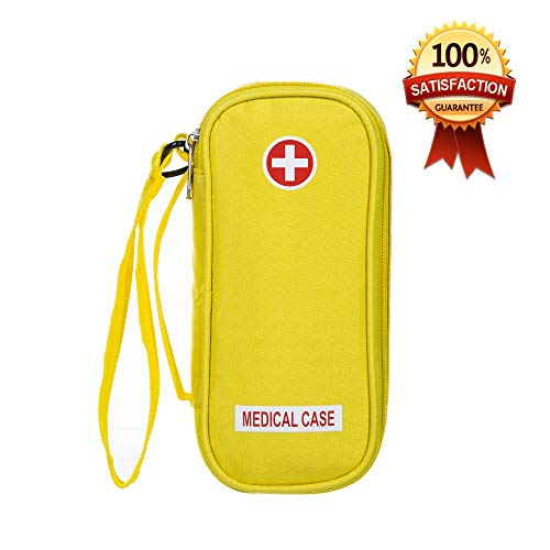 EpiPen Carrying Medical Case - Yellow Insulated Portable Bag with Zipper - for 2 EpiPen's