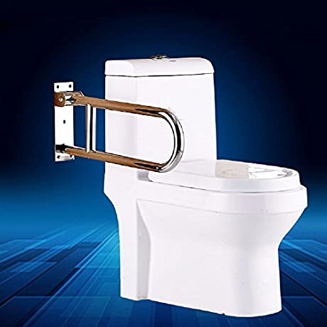 WAZZJ Stainless Steel U Type Toilet Armrest Barrier Free Disabled Person Armrest Toilet Toilet Handle Top Turning Function Armrest