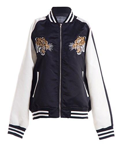 (FASHIONOMICS Womens Tiger Up Embroidery Satin Bomber Jacket BLACK L)