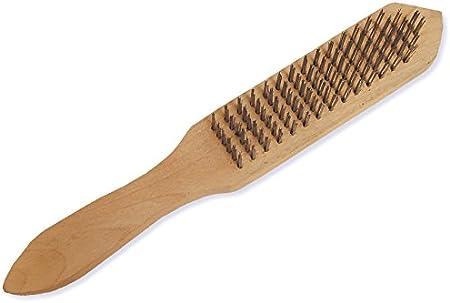 Brosse m/étallique en acier 4 rang/ées 290 mm Brosse en fil dacier Manche en bois Brosse en acier