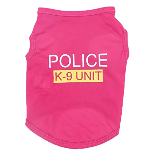 Wakeu Pet Shirt Small Dog Cat Clothes Puppy Police K-9 Unit Pattern Vest T-Shirt Pet Summer Apparel (S, Hot Pink)