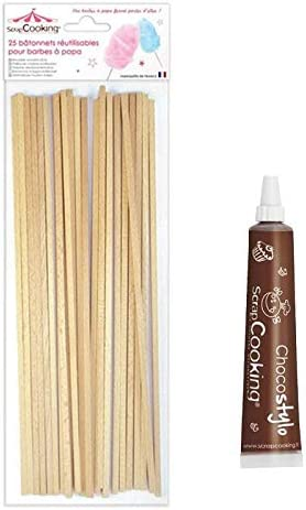 Palitos de madera reutilizables para algodon de azucar + Tubo de chocolate para decorar: Amazon.es: Hogar