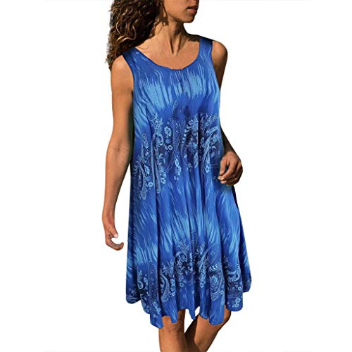 Fitfulvan Women Plus Size O-Neck Printing Sleeveless Vest Dress Printed Pleats Easy Mini Skirt Blue