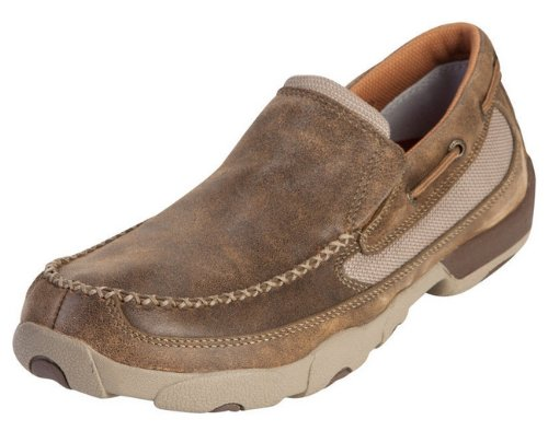 Twisted X Mens Slip-on Driving Moccasins, Bomber, Size 9.5