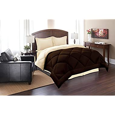 Super Soft Goose Down 3pc REVERSIBLE Alternative Comforter - All Sizes and Many Colors Available , QUEEN , Brown/Cream