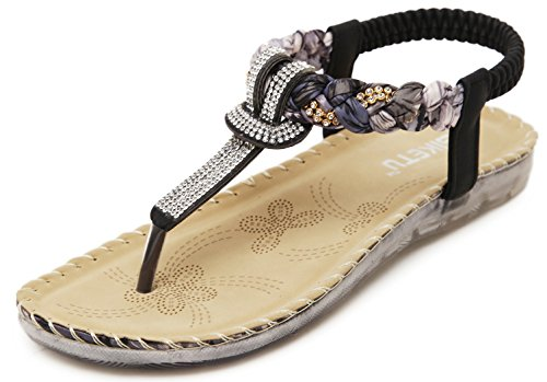 Women's Summer Bohemian Glitter T-Strap Vacation Flat Thong Sandals, Simple Rhinestones Black Open Toe Herringbone Silk-Like Floral Comfy T Strap Shoes for Dressy Casual Jeans Daily Wear Beach Holiday,Black 546,6.5-7 B(M) US ()