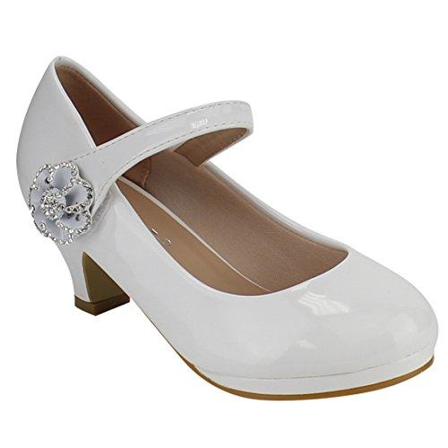 - Link FQ17 Girl's Flower Rhinestone Wrapped Kitten Heel Platform Mary Jane, Color White Patent, Size:10 M US Toddler