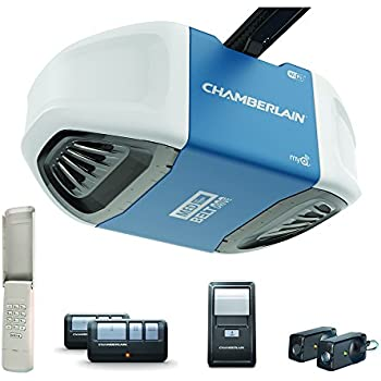 Chamberlain B550 Smartphone-Controlled Ultra-Quiet & Strong Belt Drive Garage Door Opener with MED Lifting Power, Blue