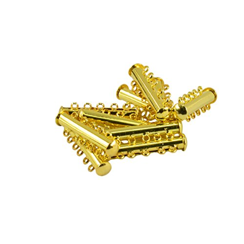Pearl Slide Bracelet (Baosity 10pcs 5 Strand Slide Magnetic Tube Lock Clasp/ Connectors for Jewelry Making - Gold, as described)