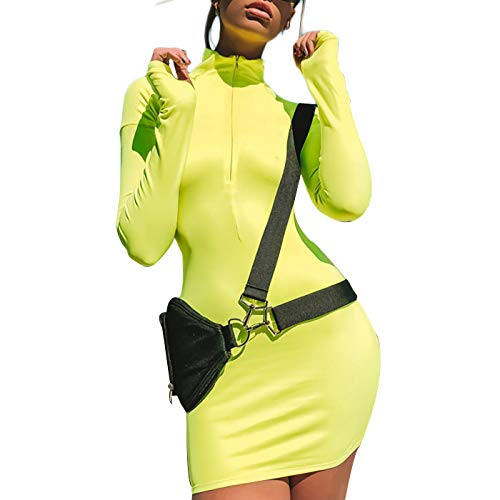 Velius Women's Sexy Turtleneck Long Sleeve Front Zipper Bodycon Party Dress (Small, Fluorescent Green) -