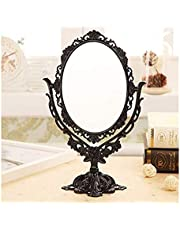 YXZQ Makeup Mirror, Women Cosmetic Mirror Vintage Desktop Rotatable Mirror with Butterfly Rose Vines Decor Tool (Color : Black)