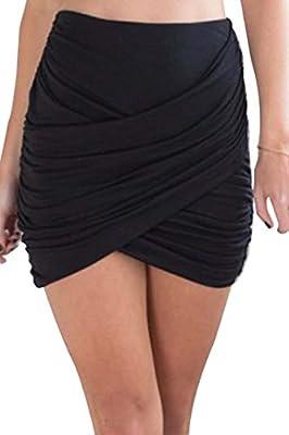 Zeagoo Women Wrap Runched Stretch Draped Mini Pleated Bodycon Pencil Skirt