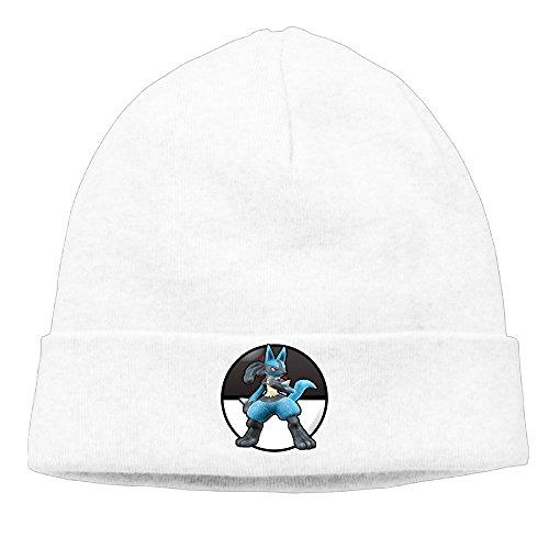 Caromn Lucario Beanies Skull Ski Cap Hat White