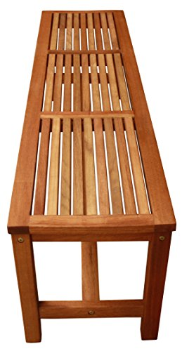 LuuNguyen Backless Hardwood Bench (Natural Wood Finish) (For Wooden Sale Table And Benches)
