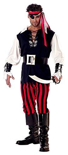 [California Costumes Men's Adult Cutthroat Pirate Costume with Pirate Cutlass, White/Black/Red, X-Large] (Pirate Cutthroat Costumes)