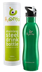 OnyaBags H2Onya - Botella reutilizable con tapa (1000 ml), color verde