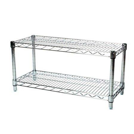 Commercial Chrome Wire Unit 14 x 30 - 2 Shelf Unit - 14'' Height by LJ