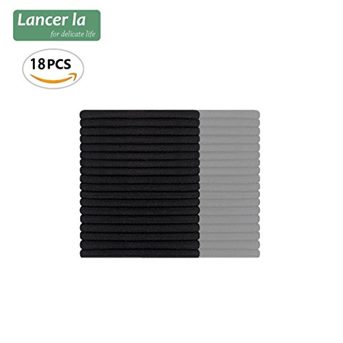 Soft Touching Cloth Scrunchie, Hair band and Holder for Ponytail, Seamless Craft Design Tie, 18 Count in 1 Set, by Lancer La (Black) ()