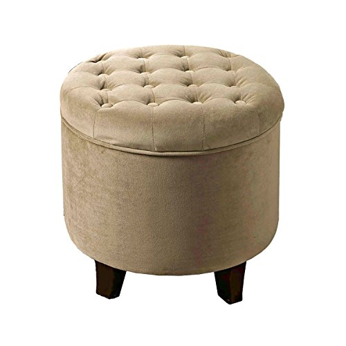 HomePop Velvet Button Tufted Round Storage Ottoman with Removable Lid, Tan (Pouf Ottoman Velvet)