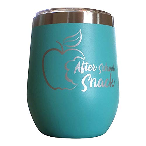 Teacher Appreciation Gifts | After School Snack Teacher Wine Glass Stainless Steel Tumbler | Great End of Year Teacher Gifts & Thank You Gifts for Teachers by Teacherforia (Teal) (Best End Of Year Teacher Gift Ideas)