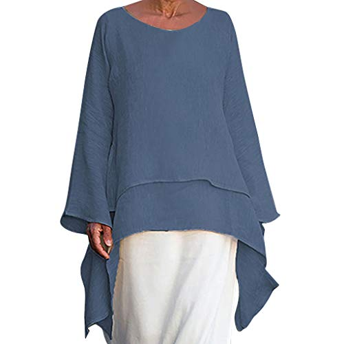 (Irregular Hem Shirt t Women Fashion Plus Size Casual Linen Top Long Sleeve Crew Neck Blouse)